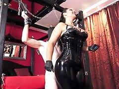 fat mistress milks dork between her chubby thighs