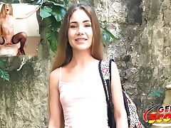 GERMAN SCOUT - CUTE TEEN MARY TALK TO FUCK AT STREET CASTING